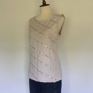 Ann Taylor ribbon and sequin striped shell